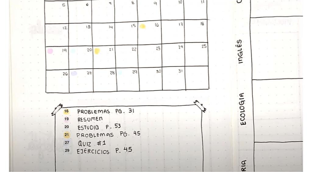 Ejemplo de registro mensual en bujo para estudiantes